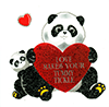Pandas with red hearts