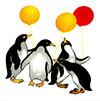 Penguine with balloons